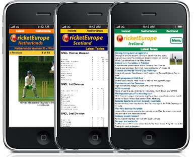 CricketEurope on iPhones