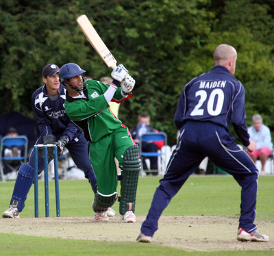 Kenyan batsman Aga hits out against Gregor Maiden of Scotland