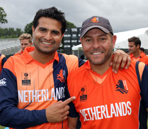Mudassar Bukhari took a Man of the Match 6 for 24 and Michael Swart scored 60 not out as The Netherlands beat UAE by seven wickets